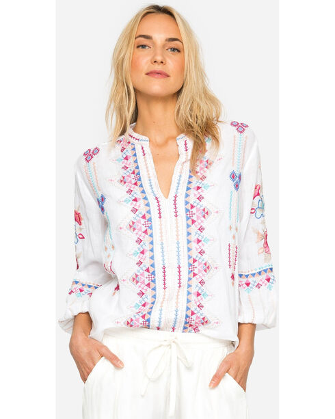 Johnny Was Women's Amal Paris Effortless Blouse, White, hi-res