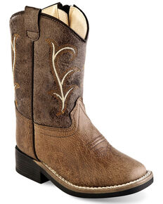 Old West Boys' Faux Leather Shaft Embroidery Western Boots - Wide Square Toe, Brown, hi-res
