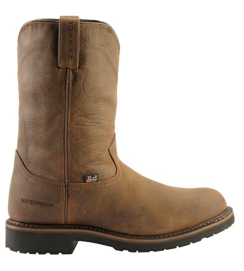 Justin Wyoming Waterproof Pull-On Work Boots - Round Toe, Brown, hi-res