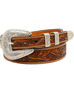 Nocona Men's  Floral Embossed 4-Piece Buckle Belt, Tan, hi-res