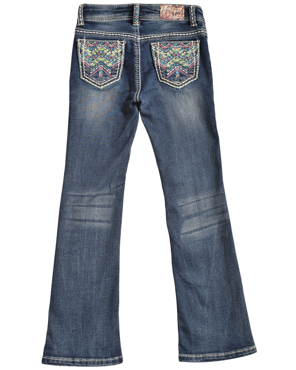Grace in LA Girls' TeePee Bootcut Jeans, Denim, hi-res