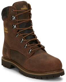 "Chippewa Heavy Duty Waterproof & Insulated Aged Bark 8"" Work Boots - Steel Toe, Bark, hi-res"
