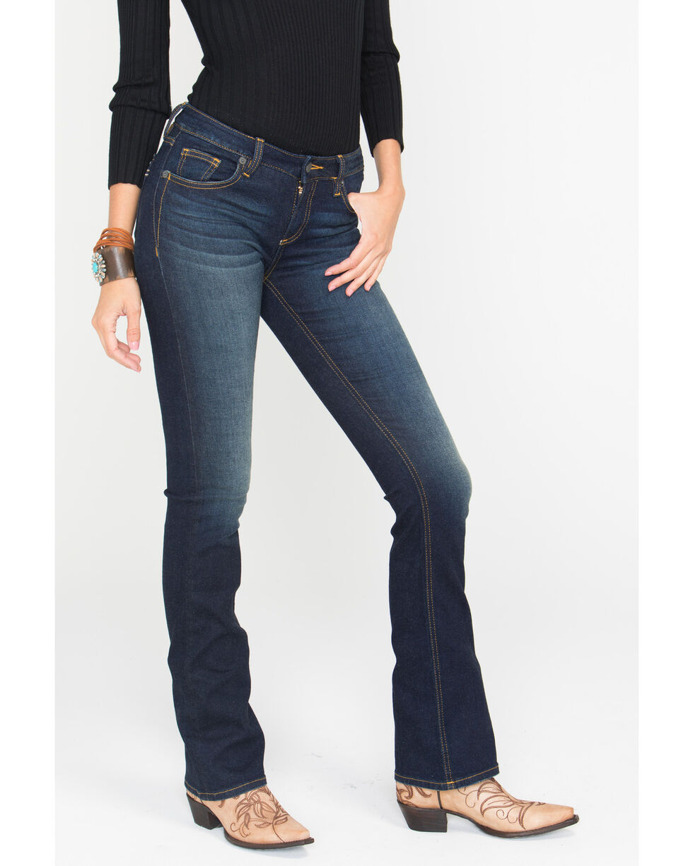 Miss Me Women's Refined Beauty Mid-Rise Boot Cut Jeans, Dark Blue, hi-res