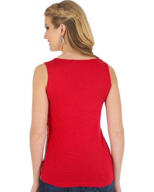 Wrangler Women's Sequin Tank Top, Red, hi-res