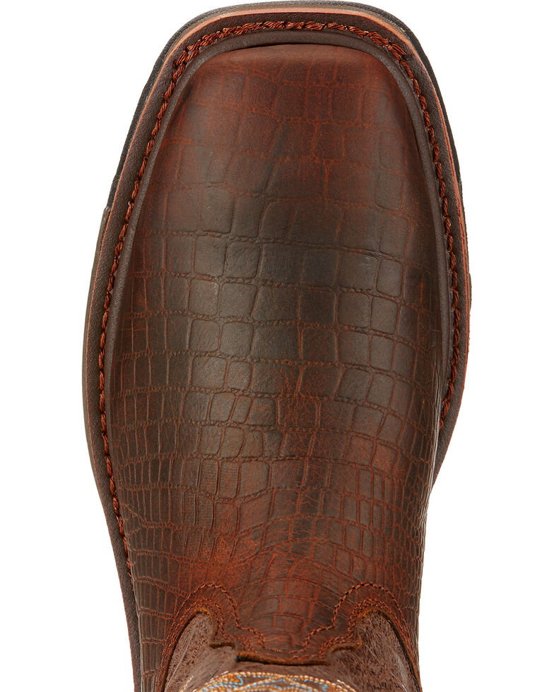 Ariat Workhog Croc Print Wide Square Toe Work Boots - Soft Toe , Brown, hi-res