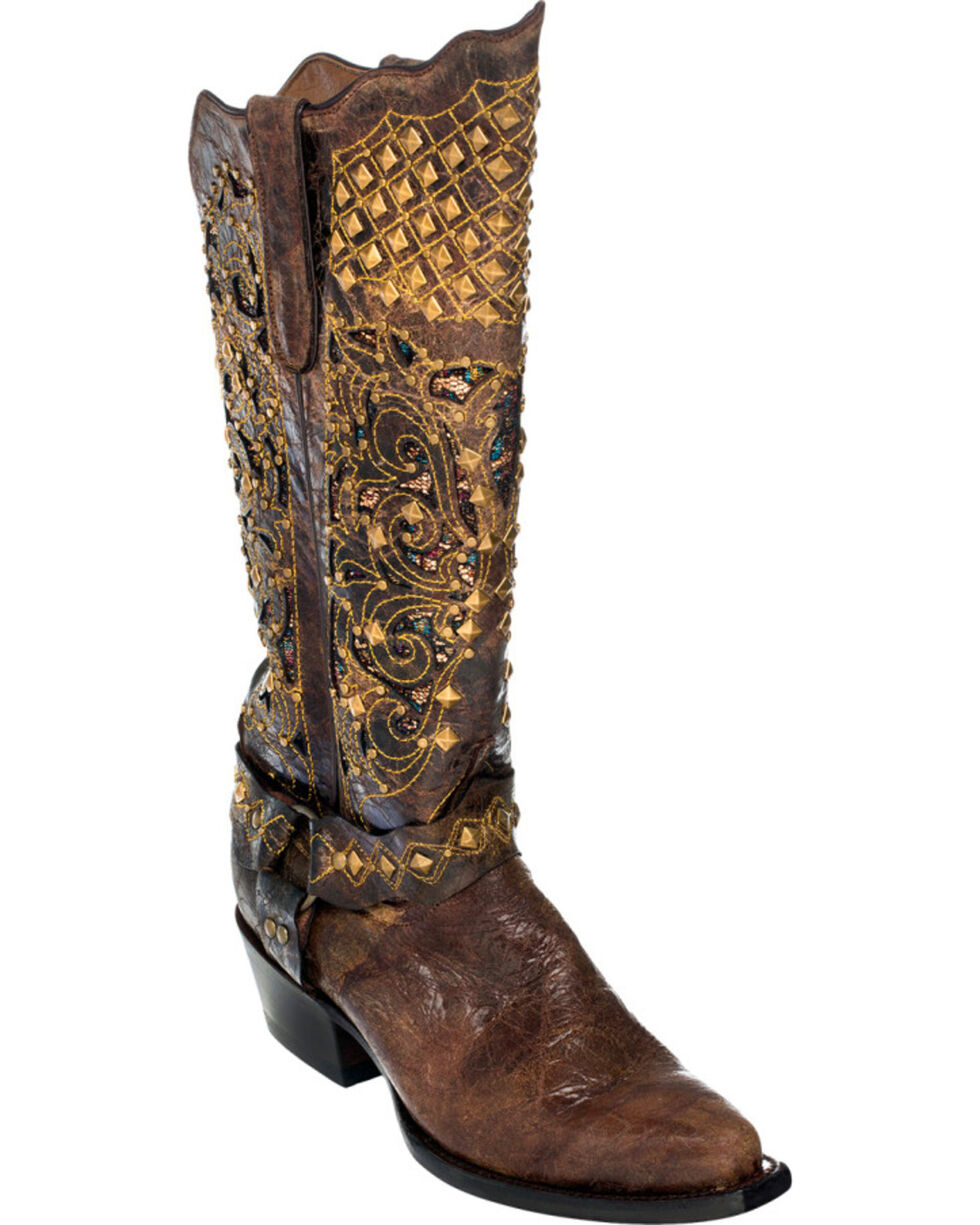 Ferrini Chocolate Country Rebel Cowgirl Boots - Pointed Toe, Chocolate, hi-res