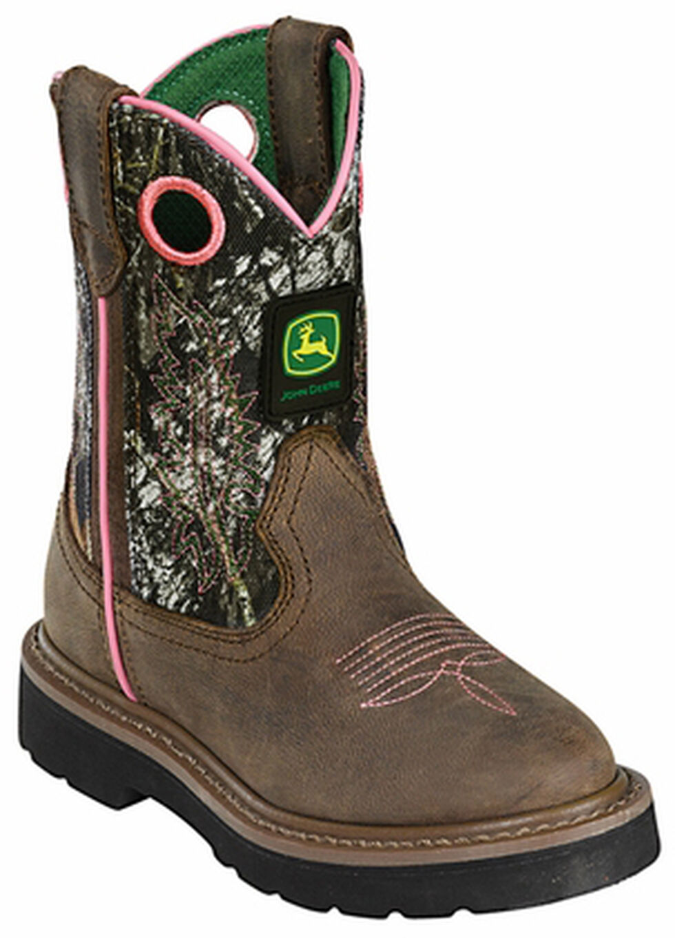 John Deere Girls' Johnny Popper Camo Western Boots - Round Toe, Camouflage, hi-res
