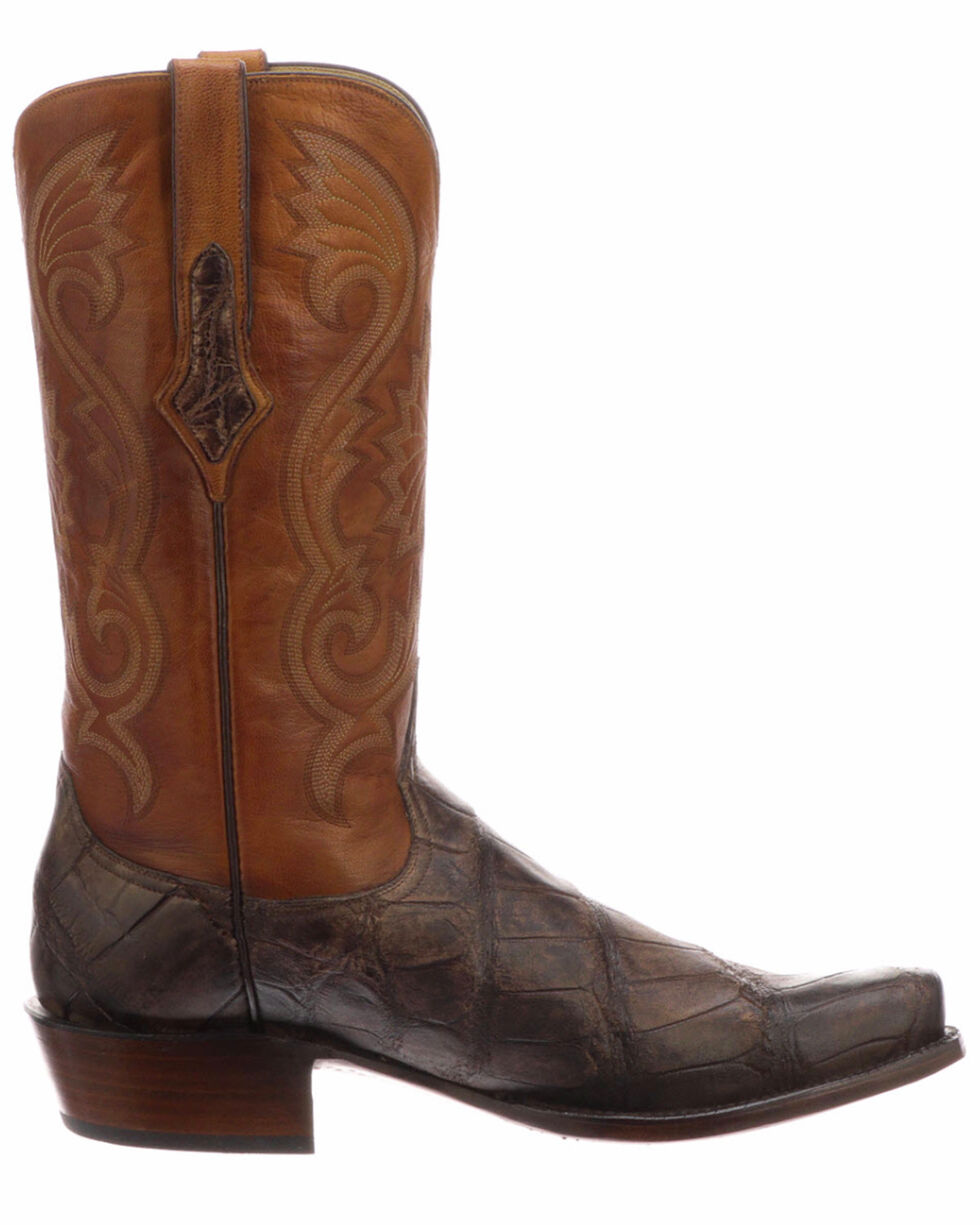 Lucchese Men's Rio Chocolate/Cognac Giant Gator Western Boots - Square Toe , Chocolate, hi-res