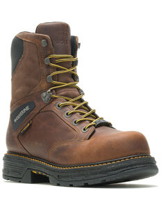"""Wolverine Men's Hellcat 8"""" Lace-Up Work Boots - Composite Toe, Brown, hi-res"""