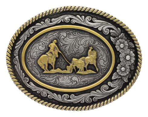 Montana Silversmiths Men's Classic Two Tone Three Flowers Cameo Team Roper Buckle , Silver, hi-res