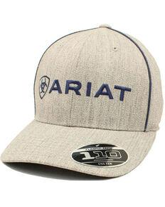 Ariat Men's Heather Grey Embroidered Logo Flex Fit Ball Cap , Grey, hi-res