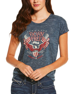 Ariat Women's Navy Born Free Short Sleeve Tee , Navy, hi-res