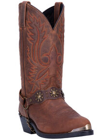Laredo Men's Harness Strap Western Boots - Medium Toe, Brown, hi-res