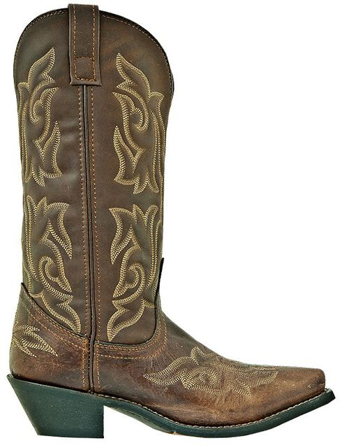 Laredo Stitched Vamp and Shaft Cowgirl Boots - Snip Toe, Brown, hi-res