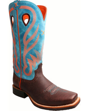 Twisted X Women's Blue Ruff Stock Cowgirl Boots - Square Toe, Brown, hi-res