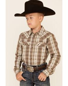 Cody James Boys' Lanyard Stripe Long Sleeve Snap Western Shirt , Olive, hi-res