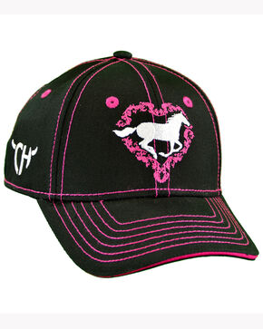 Cowgirl Hardware Infant & Toddler Girls' Black Heart Horse Cap, Black, hi-res