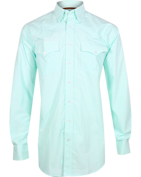 Miller Ranch Men's Check Pattern Long Sleeve Western Shirt, White, hi-res
