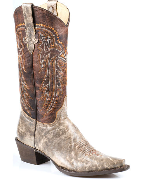 Stetson Women's Shelby Marbled Western Boots - Snip Toe, Brown, hi-res