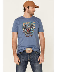 Moonshine Spirit Men's 100% Freedom Eagle Graphic Short Sleeve T-Shirt , Blue, hi-res