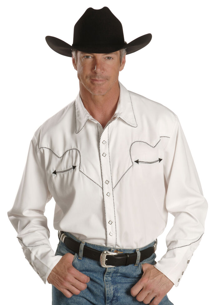Scully White Retro Western Shirt - Big & Tall, White, hi-res