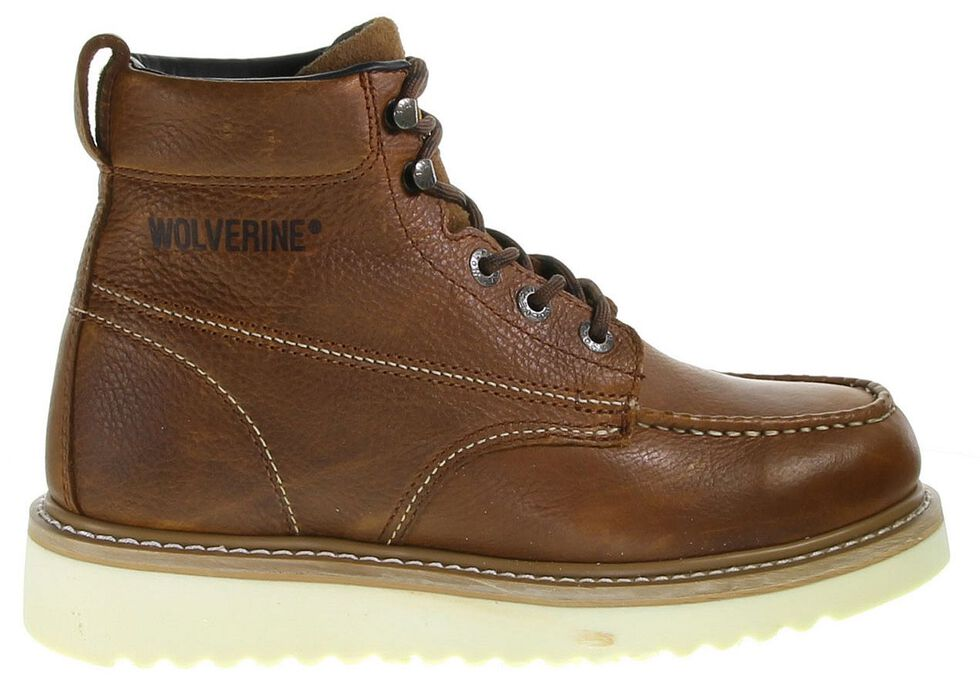 """Wolverine 6"""" Lace-Up Wedge Work Boots - Round Toe, Brown, hi-res"""