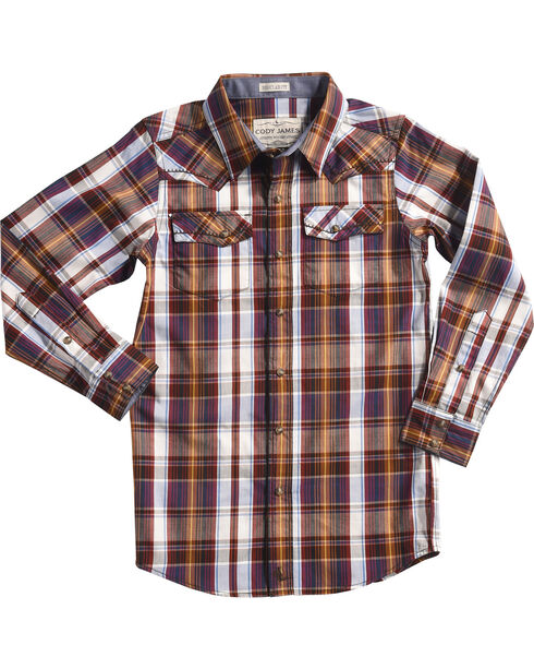 Cody James Boys' Saddle Plaid Long Sleeve Shirt, White, hi-res