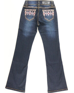 Shyanne Girl's Aztec Pocket Jeans - Boot Cut, Blue, hi-res