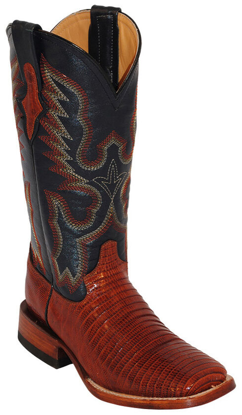 Ferrini Lizard Saddle Vamp Cowgirl Boots - Wide Square Toe, Peanut, hi-res