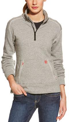 Ariat Flame Resistant Women's Quarter Zip Fleece, Grey, hi-res