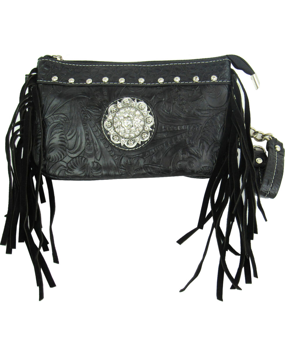 Savana Women's Black Tooled Crossbody/Wristlet with Fringe, Black, hi-res