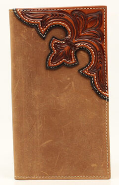 Nocona Scroll Overlay Rodeo Wallet, Med Brown, hi-res