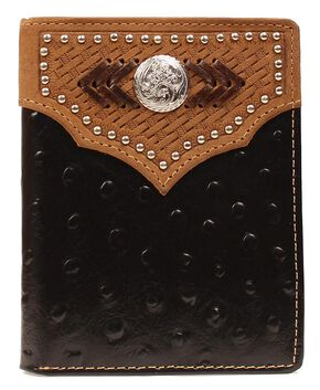 Nocona Studded Basketweave Overlay Ostrich Print Bi-fold Wallet, Black, hi-res