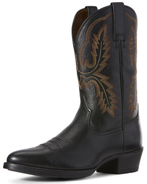 Ariat Men's Bar Sour Western Boots - Round Toe, Black, hi-res