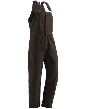 Berne Women's Washed Insulated Bib Overalls - Tall, Dark Brown, hi-res