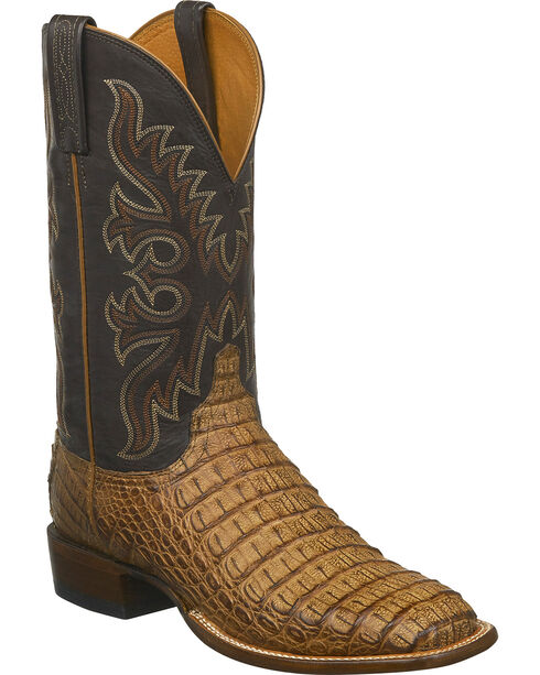 Lucchese Men's Fisher Hornback Caiman Leather Horseman Boots - Square Toe, Tan, hi-res