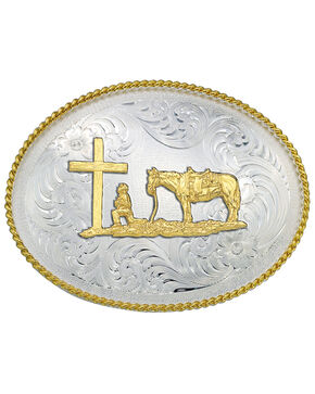 Montana Silversmiths Christian Cowboy Western Belt Buckle, Multi, hi-res