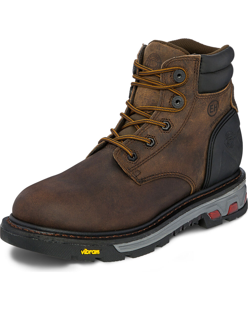 "Justin Men's 6"" Drywall Insulated EH Waterproof Work Boots - Soft Toe, Brown, hi-res"