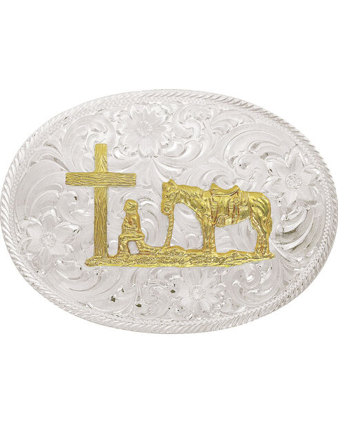 Montana Silversmiths Men's Silver and Gold Christian Cowboy Belt Buckle , Silver, hi-res