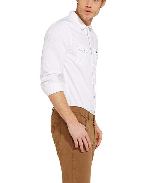 Wrangler Men's Western Slim Fit Solid Shirt, Blue, hi-res