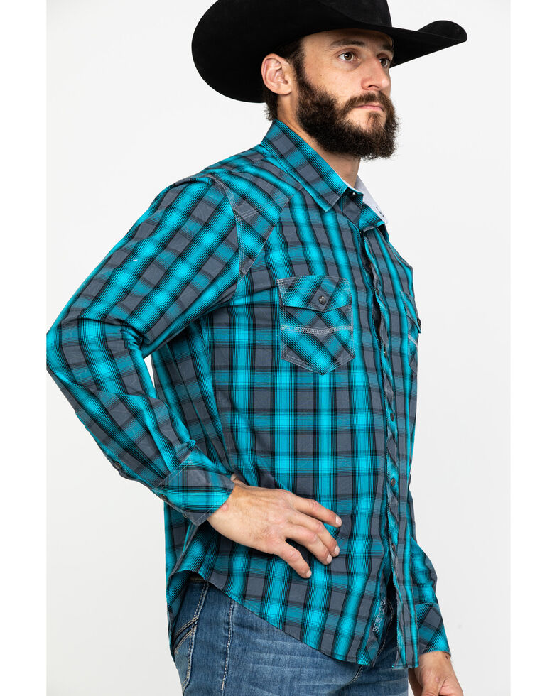Rock & Roll Denim Men's Turquoise Ombre Plaid Long Sleeve Western Shirt , Turquoise, hi-res