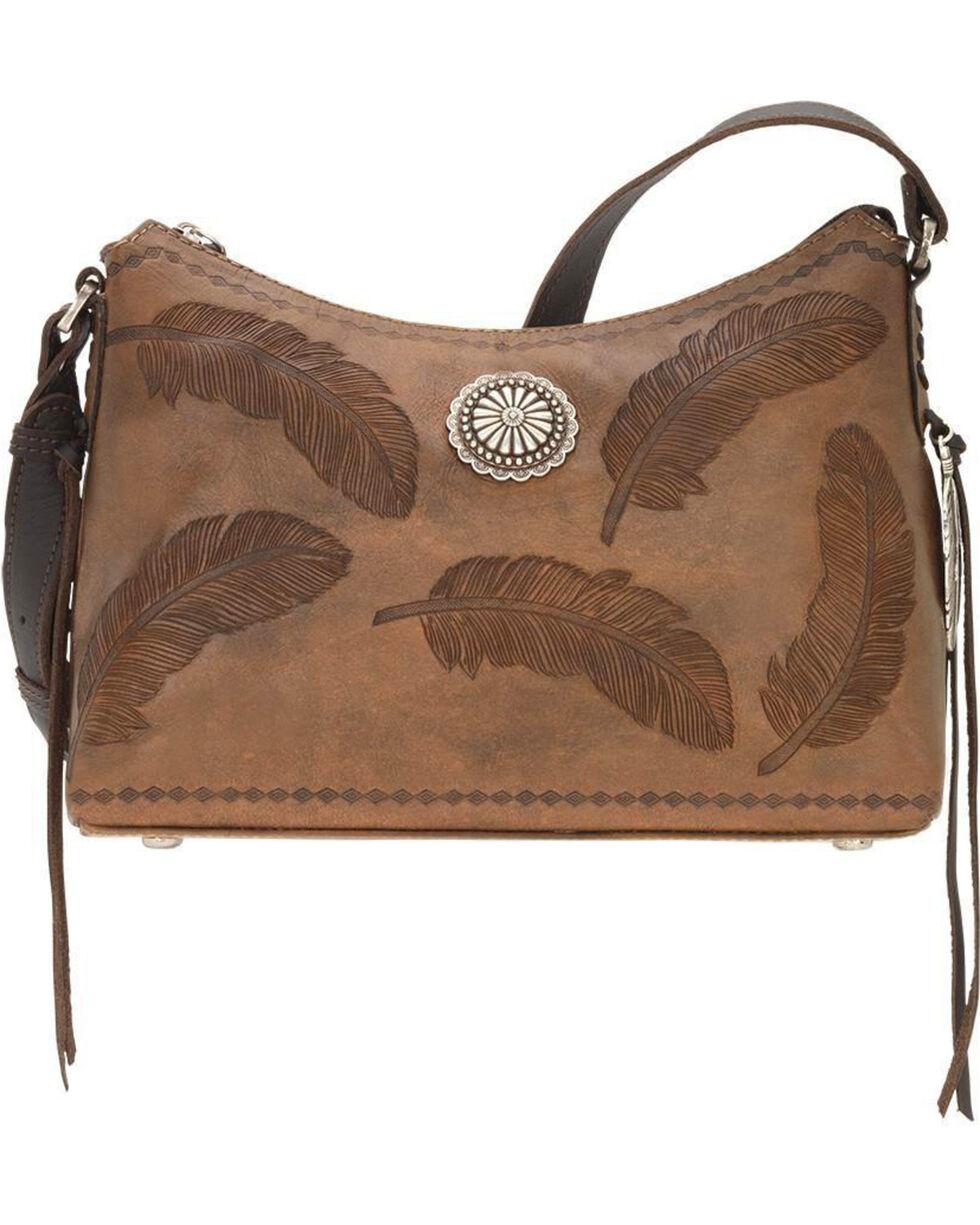 American West Women's Brown Sacred Bird Shoulder Bag , Distressed Brown, hi-res