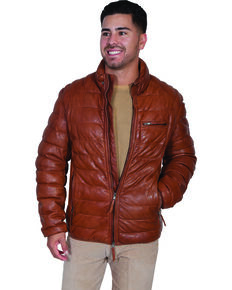 Scully Men's Horizontal Ribbed Leather Jacket, Cognac, hi-res