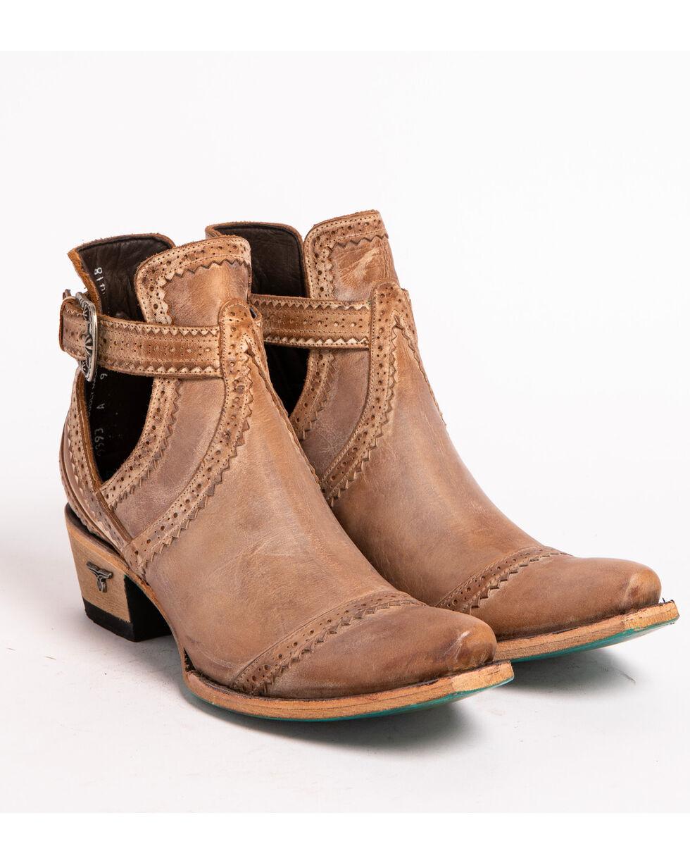 Lane Women's Tan Cahoots Buckle Strap Booties - Snip Toe, Tan, hi-res