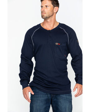 Cinch Men's Fire Resistant Raglan Henley Long Sleeve Work Shirt , Navy, hi-res
