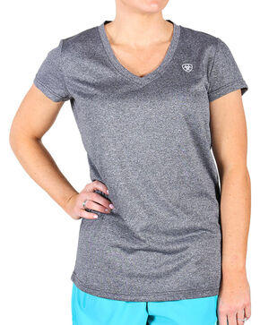 Ariat Women's Charcoal Grey Laguna Short Sleeve Top, Charcoal, hi-res