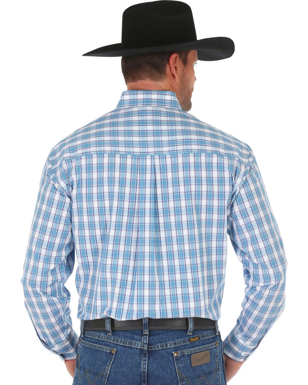 Wrangler George Strait Men's Blue Classic Plaid Shirt , Blue, hi-res