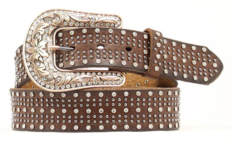 Nocona Studded Leather Belt, Brown, hi-res
