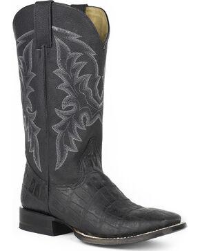 Roper Men's Black Caiman Belly Print Boots - Square Toe , Black, hi-res