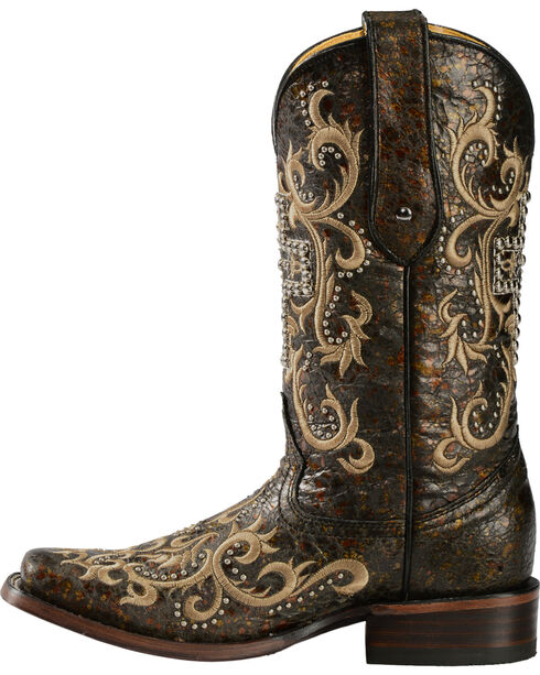 Corral Studded Cross Cowgirl Boots - Square Toe, Black, hi-res